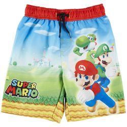 Mario Brothers Little Boys Super Mario Swim Trunks