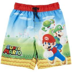 Little Boys Super Mario Swim Trunks