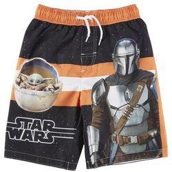 Star Wars Little Boys The Mandalorian Swim Trunks
