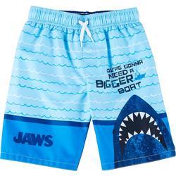 Little Boys Bigger Boat Shark Swim Trunks