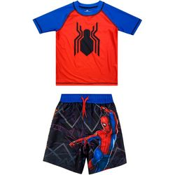Little Boys 2-pc. Graphic Spider Rashguard Set
