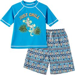 Flapdoodles Little Boys 2-pc. Just Chill Rashguard Set