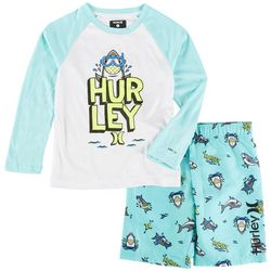 Hurley Little Boys 2-pc. Shark Logo Rashguard Set