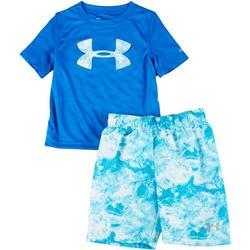 Little Boys 2-pc. Water Print Swim Set