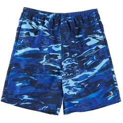 Big Boys Aqua Camo Swim Shorts