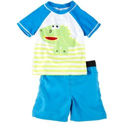 Sol Swim Little Boys Dino Short Sleeve Rashguard Set