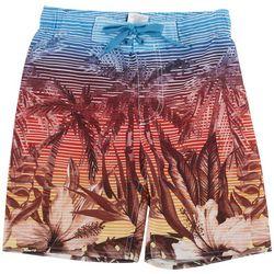 Distortion Big Boys Palm Tree Stripe Boardshorts