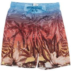 Big Boys Palm Tree Stripe Boardshorts