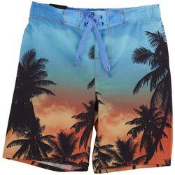 Distortion Big Boys Sunset Palm Tree Boardshorts