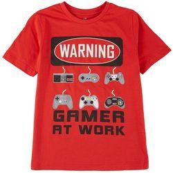 ADTN Little Boys Warning Gamer At Work T-Shirt