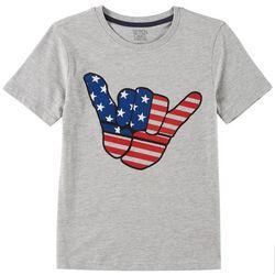 Little Boys American Flag Hand T-Shirt