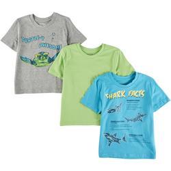 Little Boys 3-pc. Turtle & Shark T-Shirt Set