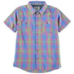 Reverse Threads Little Boys Crossing Plaid Button Down Shirt