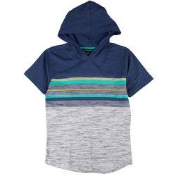 Distortion Big Boys Striped Print Hooded T-Shirt