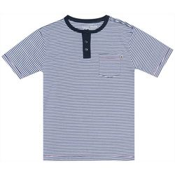 Lucky Brand Big Boys Short Sleeve Striped Button T-Shirt