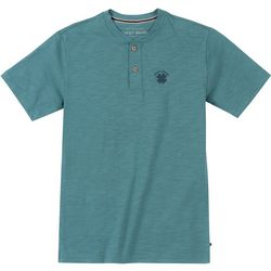 Lucky Brand Big Boys Short Sleeve Heathered Button T-Shirt