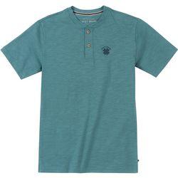 Big Boys Short Sleeve Heathered Button T-Shirt