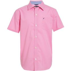 Nautica Big Boys Short Sleeve Gingham Button Down Shirt