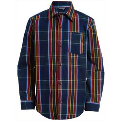 Nautica Big Boys Clark Plaid Button Down Long Sleeve Shirt