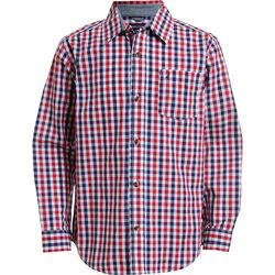 Nautica Big Boys Red Plaid Button Down Long Sleeve Shirt
