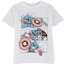 Captain America Little Boys Character Comic Panel T-Shirt
