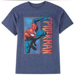 Spider-Man Big Boys Heathered Comic Logo T-shirt