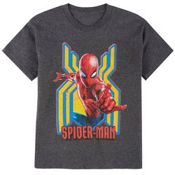 Spider-Man Big Boys Heathered Bust Web T-shirt