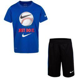 Little Boys Dri-FIT Just Do It Baseball Shorts Set
