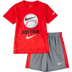 Nike Little Boys Dri-FIT Just Do It Baseball Shorts Set