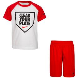 Little Boys Short Sleeve Clear Your Plate Shorts Set