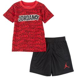Jordan Little Boys Sticker Print Tee & Shorts