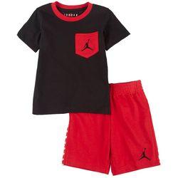 Little Boys Jacquard Wordmark Shorts Set
