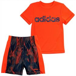 Little Boys 2-pc. Solid T-Shirt & Camo Shorts Set