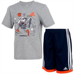Adidas Little Boys 2-pc. Graphic Shorts Set