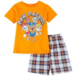Little Boys Solid Tee & Plaid Shorts Set