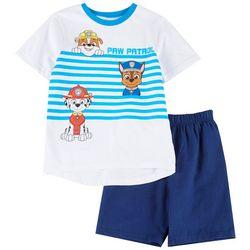 Little Boys Stripe Tee & Solid Shorts Set