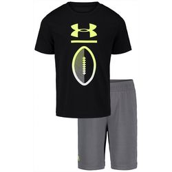 Under Armour Little Boys 2-pc. Football Logo Shorts Set