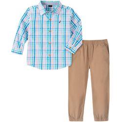 Little Boys Plaid Button Down Jogger Pants Set
