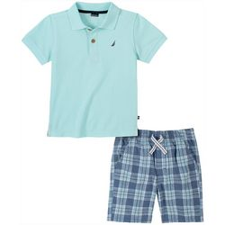 Nautica Little Boys Solid Polo & Plaid Short Set