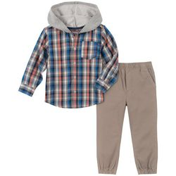 Little Boys Plaid Button Down Jogger Pant Set