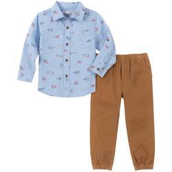 Little Boys Airplane Button Down Jogger Pant Set