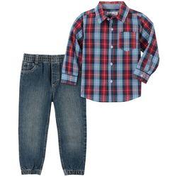 KHQ Little Boys Plaid Button Down Denim Jogger Pant Set