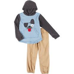 Little Boys 2-pc. Long Sleeve Dog Hoodie & Pant Set