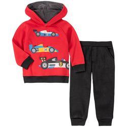 Little Boys Race Car Fleece Hoodie Set