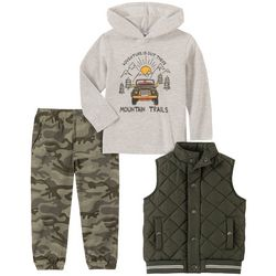 Kids Headquarters Little Boys 3-pc. Quilted Camo Vest Set