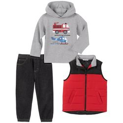 Little Boys 3-pc. Colorblock Vest Set