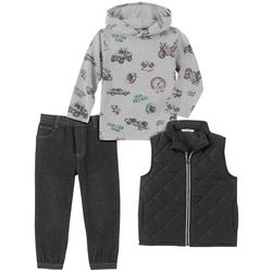 Little Boys 3-pc. Quilted Vest Set