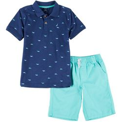 Nautica Little Boys Whale Polo & Solid Short Set