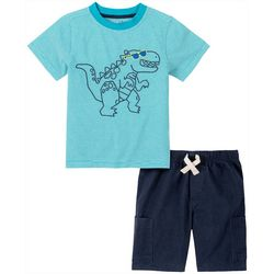 Little Boys 2-pc. Stripe Dino Short Set