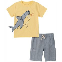 Kids Headquarters Little Boys Shark Tee & Heather Short Set